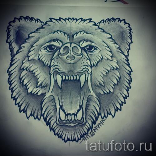 Эскиз тату медведь - вариант карандашом (морда)