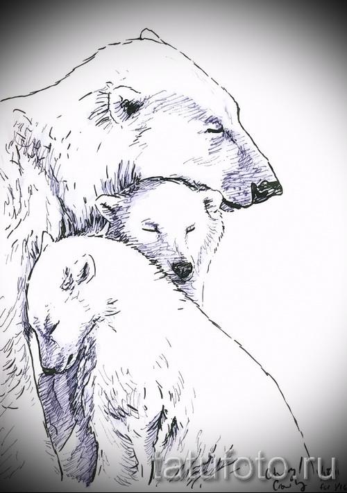 Эскиз тату медведь 20