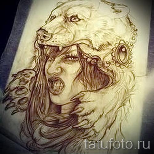 Эскиз тату медведь 21