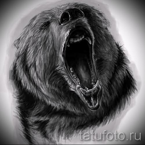 Эскиз тату медведь 26