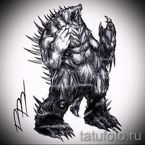 Эскиз тату медведь 29