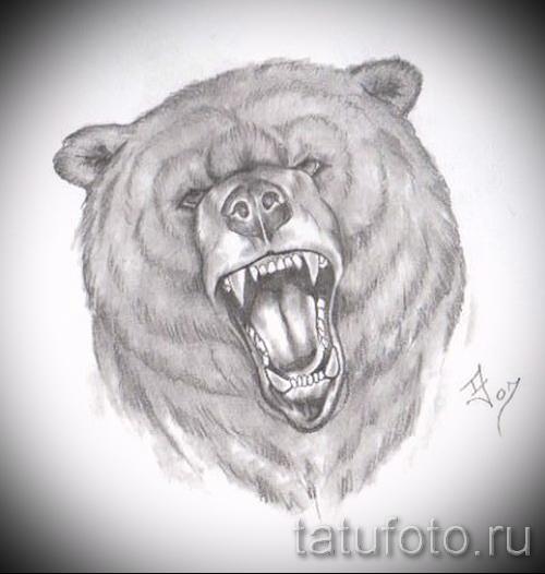 Эскиз тату медведь 31