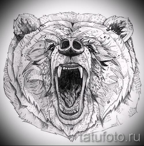 Эскиз тату медведь 43