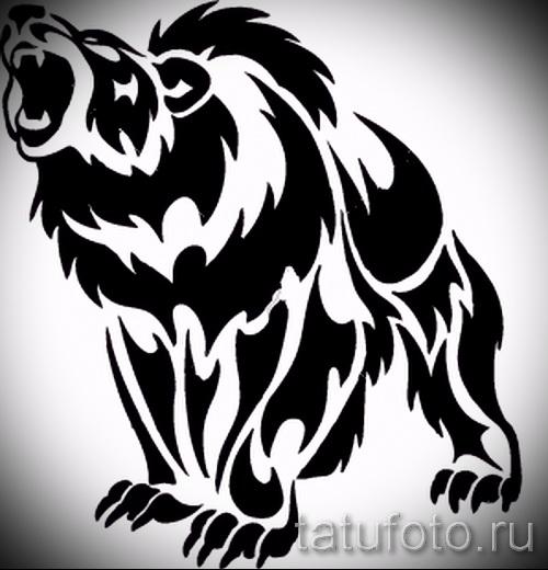 Эскиз тату медведь 44