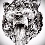 Эскиз тату медведь 5