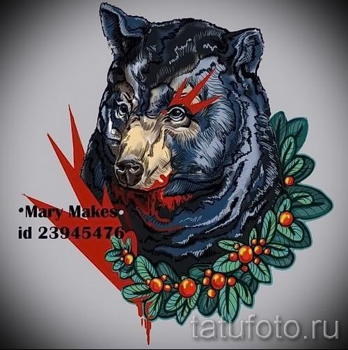 Эскиз тату медведь 54