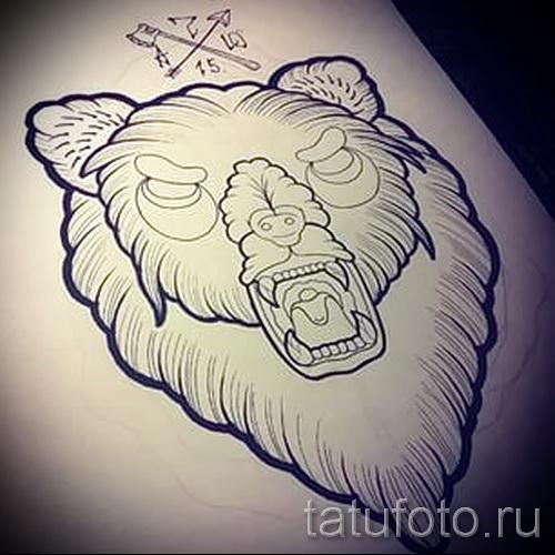 Эскиз тату медведь 55
