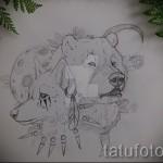Эскиз тату медведь 6