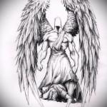 Эскиз эскиз тату на руку ангел - вариант с мускулистым воином