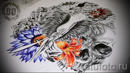 Эскиз эскиз тату на руку ангел - девушка воин - череп и цветы