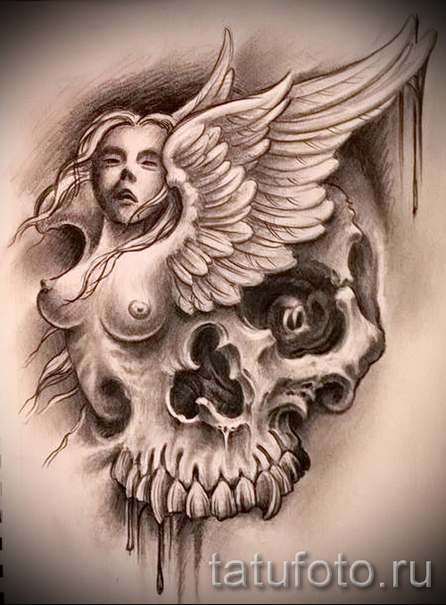 Эскиз эскиз тату на руку ангел с черепом