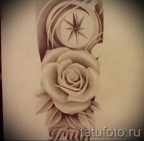 компас - розы и надписи - ТАТУ РУКАВА ЭСКИЗ
