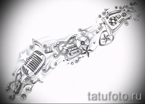 микрофон - ноты и звездочки - музыка - ТАТУ РУКАВА ЭСКИЗ