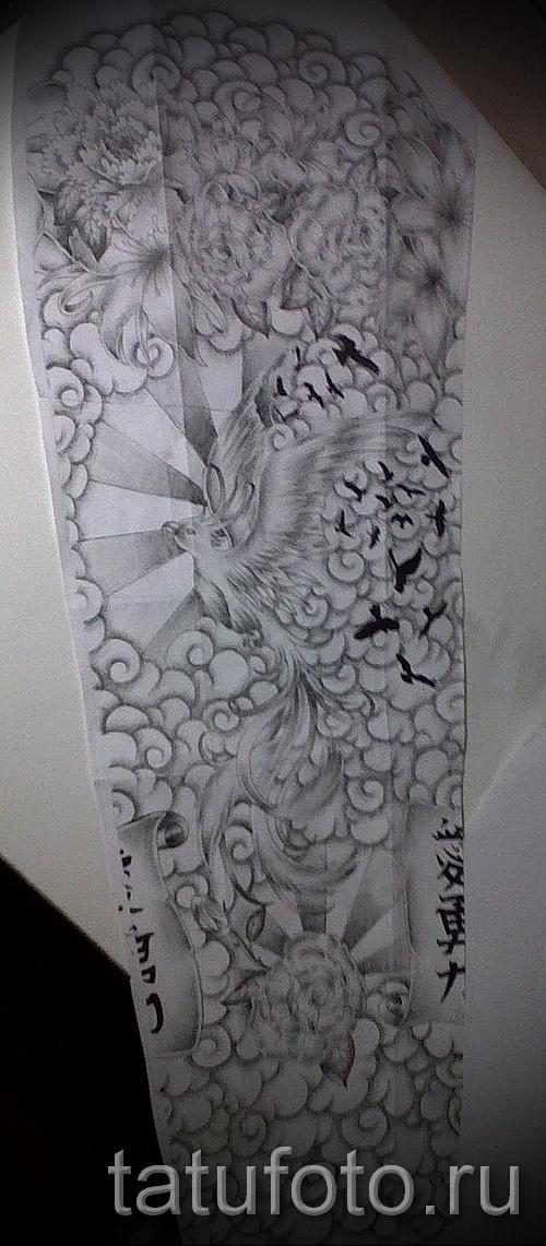 птица в полете и цветы - ТАТУ РУКАВА ЭСКИЗ