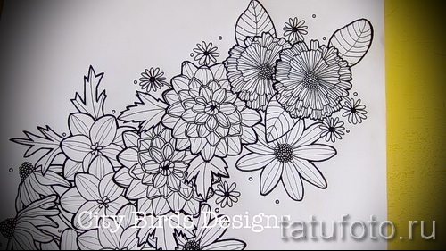 Marigold flower tattoo drawings
