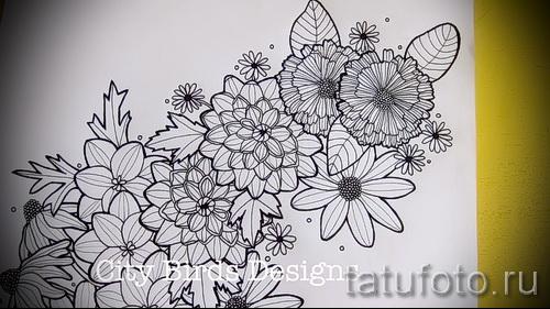 разные цветы - ТАТУ РУКАВА ЭСКИЗ