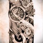 старинные чамсы - крылья и цветы - ТАТУ РУКАВА ЭСКИЗ