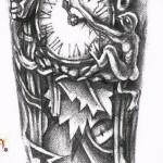 старинные часы - символы и странные существа - ТАТУ РУКАВА ЭСКИЗ