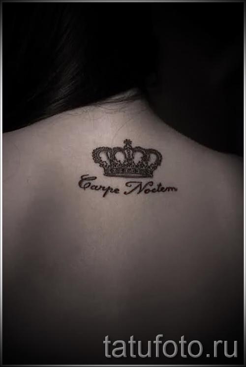 тату корона для девушек - с надписью на шее сзади