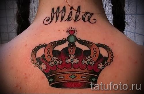 тату корона для девушек - цветной вариант с именем