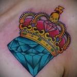 тату корона и алмаз 1 фото