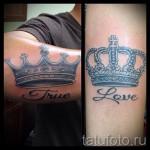 тату корона на руке - вариант с надписью любовь и правда