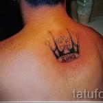 тату корона на спине - с надписью КОРОЛЬ