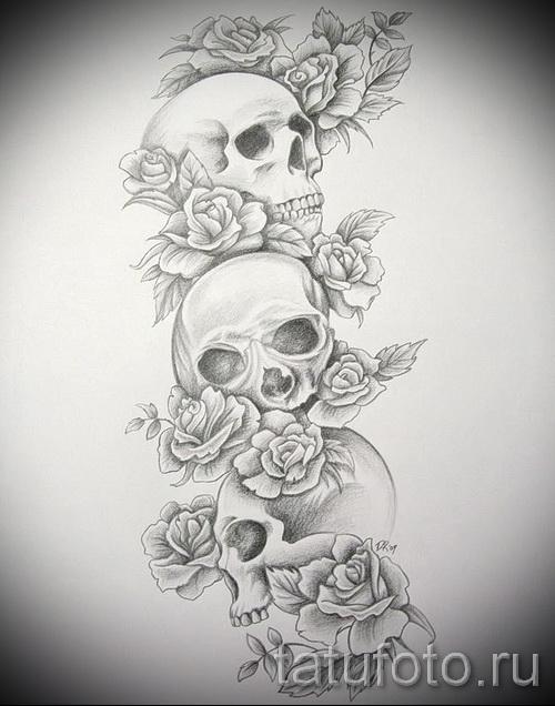 три черепа в цветах - ТАТУ РУКАВА ЭСКИЗ