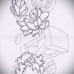 цветы и символы - ТАТУ РУКАВА ЭСКИЗ