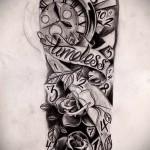 часы - цветы и надписи - ТАТУ РУКАВА ЭСКИЗ