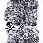 черепа - змеи и карты - ТАТУ РУКАВА ЭСКИЗ