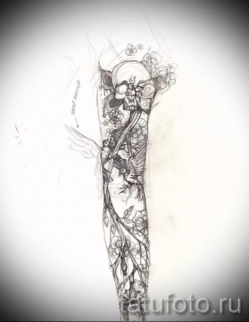 череп - птица и цветы - ТАТУ РУКАВА ЭСКИЗ