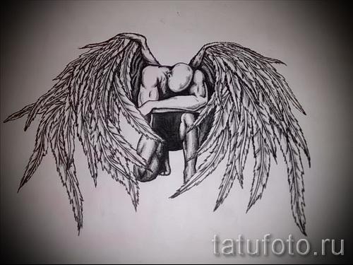 эскиз тату крылья ангела - классика