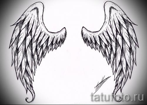 эскиз тату крылья ангела - простой вариант