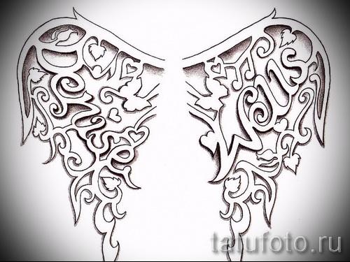 эскиз тату крылья ангела с надписями