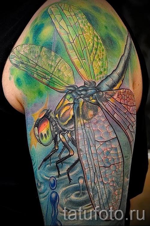 Тату насекомые - цветная яркая стрекоза на всю руку