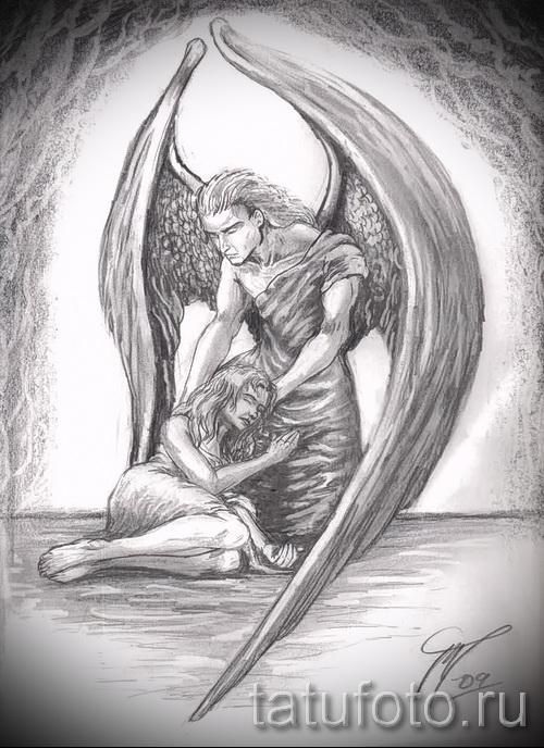 Эскиз тату ангелов хранителей - вариант где ангел утешает девушку