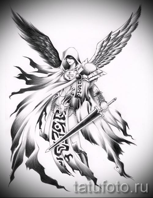 Эскиз тату ангелов хранителей - воин с большим мечем