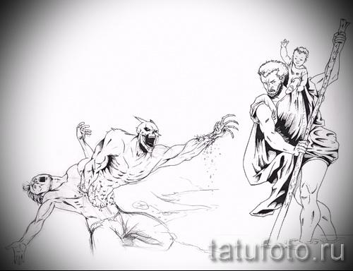 Эскиз тату ангелы и демоны - интересный вариант