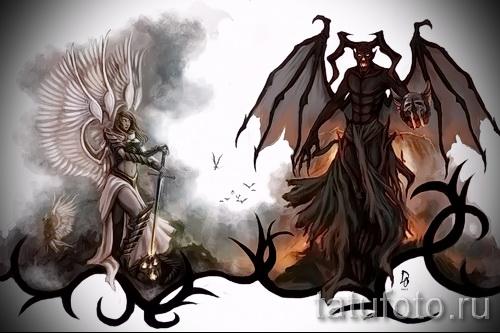Эскиз тату ангелы и демоны - красивый вариант