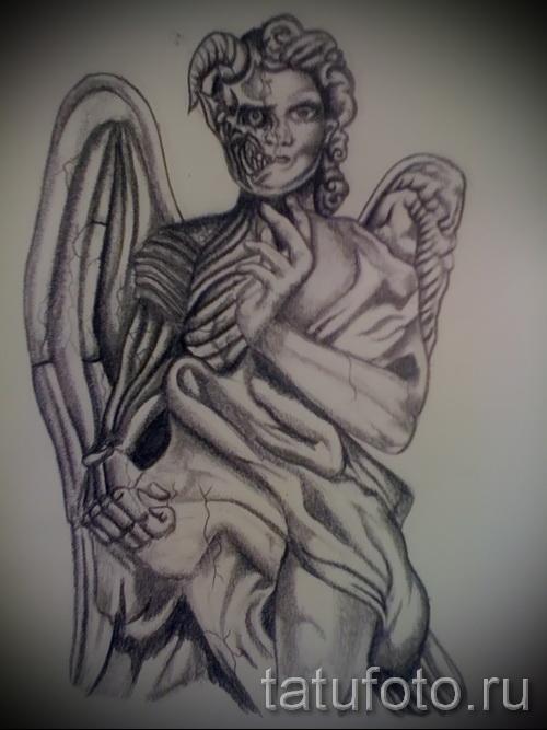 Эскиз тату ангелы и демоны - противостояние внутри одно человека