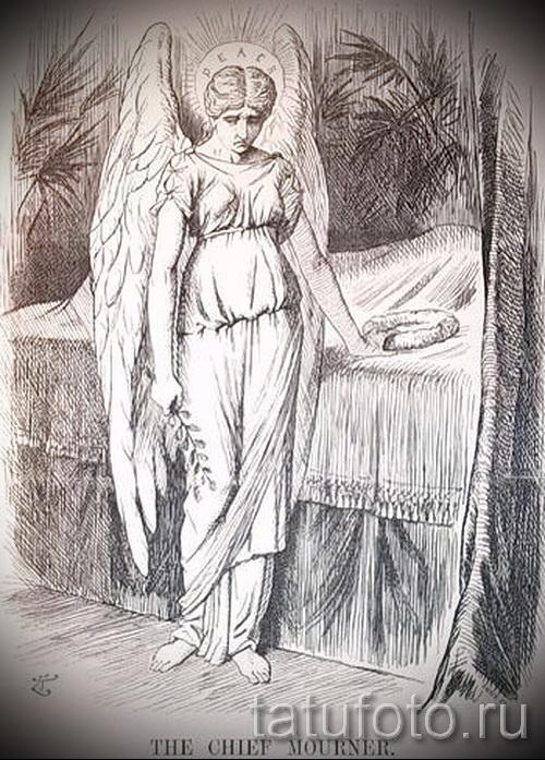 Эскиз тату ангел - вариант с ангелом который стоит у кровати - картинка для того чтоб сделать тату