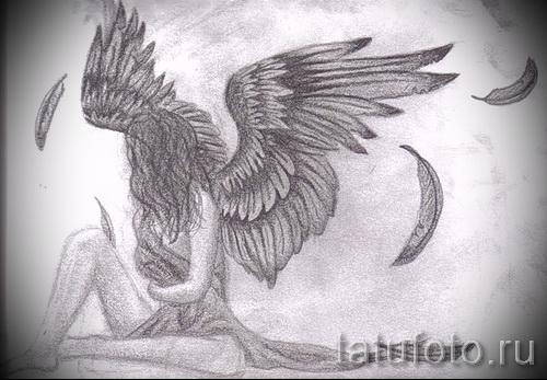 Эскиз тату ангел - вариант с девушкой и разлетающимися перьями (картинка для того чтоб сделать тату)