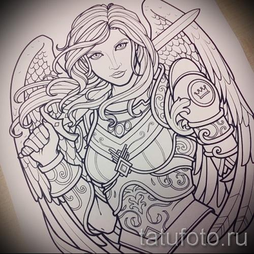 Эскиз тату ангел - девушка воин в доспехах