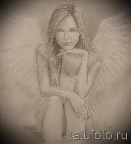 Эскиз тату ангел - девушка в легком платье - портретное сходство