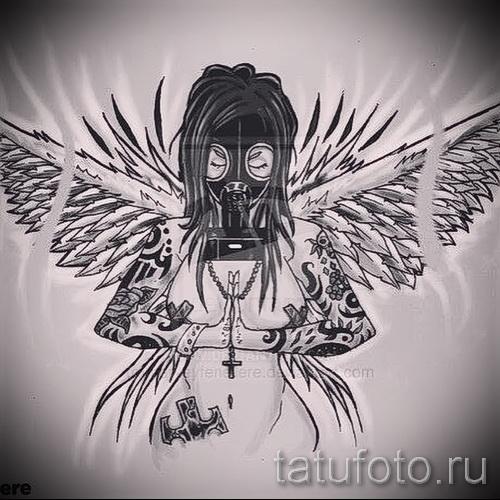 Эскиз тату ангел - девушка в тату и в противогазе