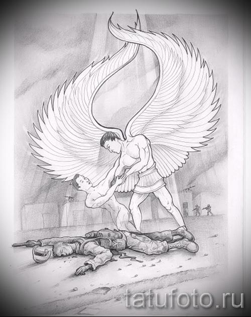 Эскиз тату ангел - забирает душу убитого солдата