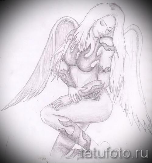 Эскиз тату ангел - красивая блондинка
