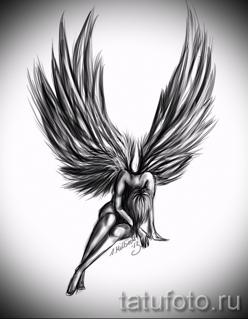 Эскиз тату ангел - красивый вариант с девушкой