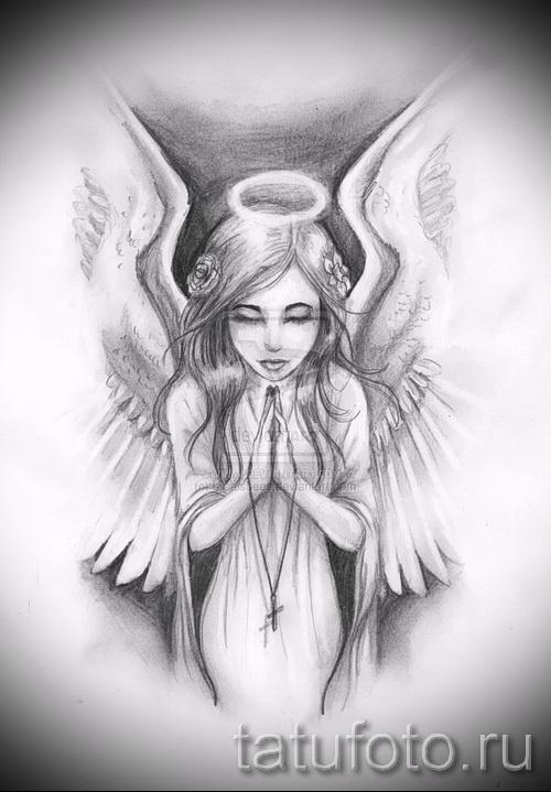 Эскиз тату ангел - молящаяся девушка с крестиком в руках
